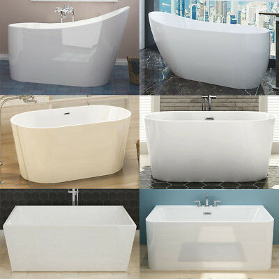 "Bathroom Bath Tub Acrylic Free Standing Back to Wall""Thin Edge"" Oval/Square"