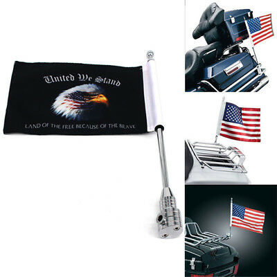 New Motorcycle USA Hawk Flag Pole Luggage Rack Side Mount For Harley Silver