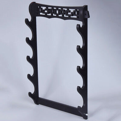 5 Layers Vintage Wall Mount Holder Black Wakizashi Sword Stand Hollow Bracket
