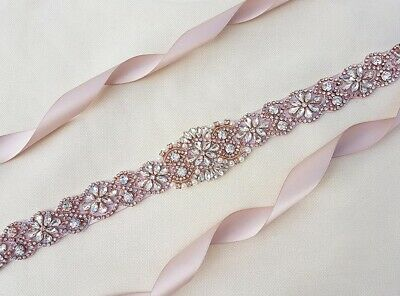 Rose Gold Rhinestones Bridal Sash Wedding Dress Sash Belt Crystal Waist Belt
