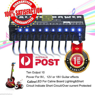 Caline CP-05 10CH Guitar Pedal Board Effect Power Supply Isolated Output 9V 12V
