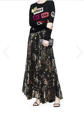 471cdd82ca New Alice + Olivia Long Printed Pleated Maxi Skirt Black & Gold AB277