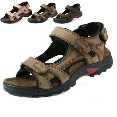 Mens Leather Sandals Summer Open Toe Sport Comfort Hiking Casual Stylish Shoes