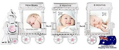 CRYSTOCRAFT Baby Girl Train Photo Frame with SWAROVSKI Crystals
