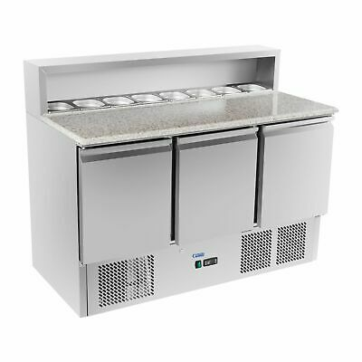 Refrigerated Saladette Food Pizza Prep Counter Fridge Granite Worktop 3 Doors