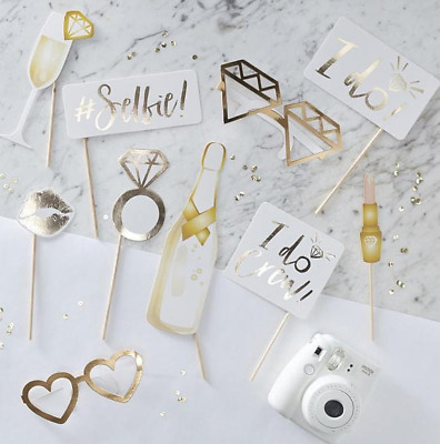10pcs Hen Party Rose Gold Photo Booth Props Team Bride Selfie Kit Wedding Game