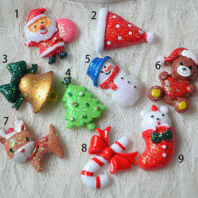 10pcs Mixed Design Resin Cabochon Flatback Christmas Theme Craft Decoration