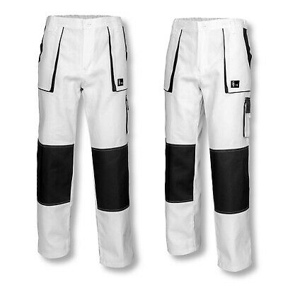 Mens Work Trousers Decorators Pants Painters Combat Multi Pocket White
