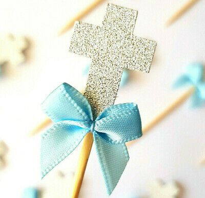 12 Silver Glitter Cross Cupcake Toppers w Blue Ribbon | Baptism / Christening