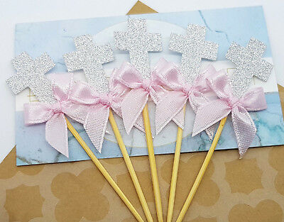 12x Silver Cross Cupcake Toppers w Pink Ribbon (christening baptism decorations)
