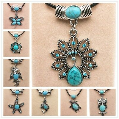 Fashion Jewelry Antique Silver Turquoise Pendant  Rhinestone Necklace Gift  CA
