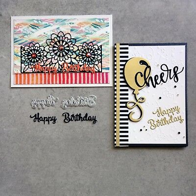 """Paper Rose """"HAPPY BIRTHDAY"""" SMALL CUTTING DIE FITS SIZZIX CUTTLEBUG CARDMAKING"""