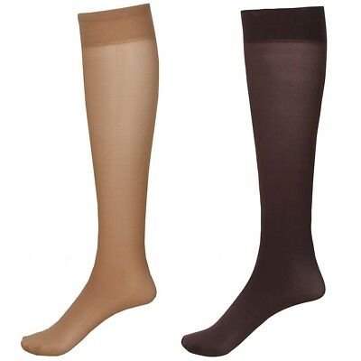 2 Pair Moderate Compression Knee High Trouser Socks Wide Calf - Navy/Grey