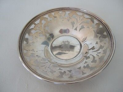 Antique sterling pierced candy dish / bowl Unger Bros.