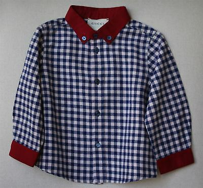 Gucci Baby Boys Blue Checked Shirt 9-12 Months