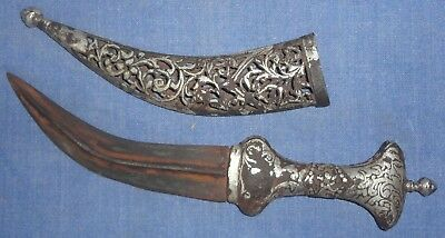 Vintage Mughal Islamic Early Period Hand Carved Silver Work Jambia Dagger Knife