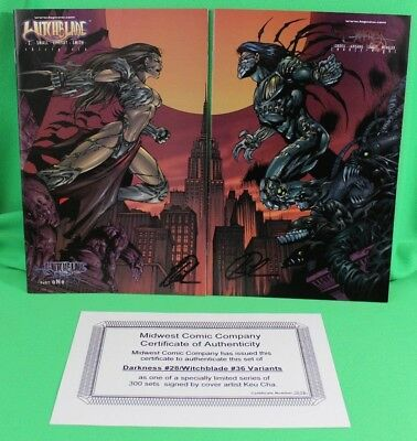 Witchblade #36 & Darkness #28 Midwest Variant Set SIGNED Keu Cha Limited 300