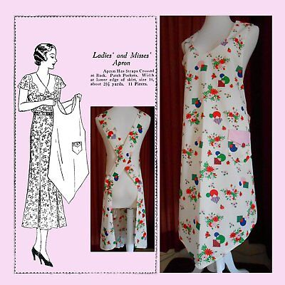 Vintage 1920s Flapper Era Full Size Reproduction Apron Sewing Pattern # 910 Sz L
