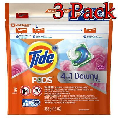 Tide 4-in-1 Downy Pods, April Fresh, 12oz, 3 Pack 037000977797A557