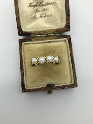 A Superb Antique Victorian Chinese Marks 22k Yellow Gold Pearl Four Stone Ring