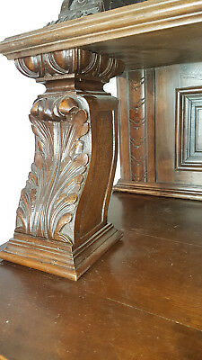19th CENTURY RARE ANTIQUE ITALIAN WALNUT RENAISSANCE CARVED DINING ROOM SETS
