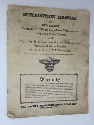 vintage Red Jacket Single Stage Deep & Shallow Well Injector Pumps Manual
