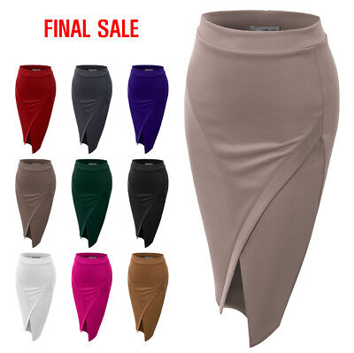 [FINAL SALE]NINEXIS Womens Basic Asymmetrical Slim Pencil Skirt