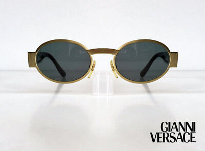 GIANNI VERSACE Vintage 1990s Sunglasses S48 Col 86M Gold Unisex Iconic Oval RARE