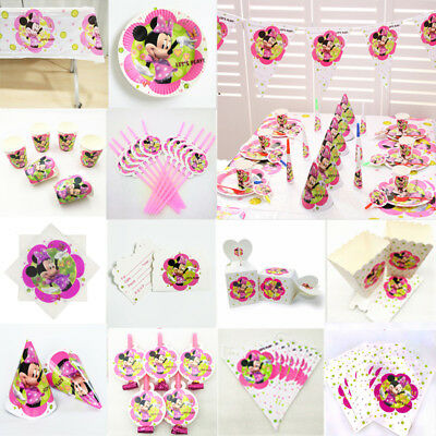 Minnie Mouse Girls Birthday Party Supplies Favor Kids Tableware Decor Plates Cup