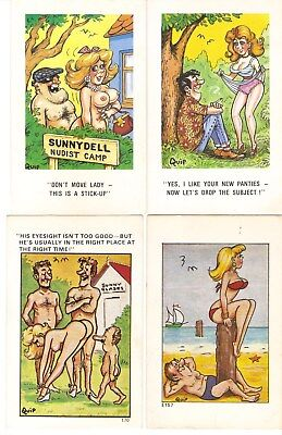 "4 x ""Quip"" Comic Postcards inc. Don't Move Lady"