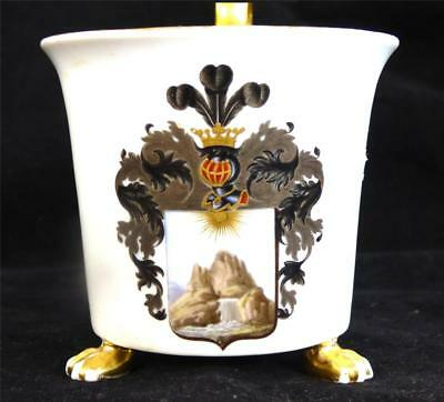 Antique Meissen Porcelain Footed Cup Armorial Crest Heraldry