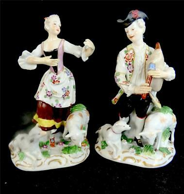 PAIR ANTIQUE 18th OR 19th CENTURY PORCELAIN FIGURES SHEPHERD & SHEPHERDDESS