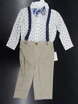 Infant & Boys Nautica $50 4pc White w/ Sailboats Suit w/ Suspenders Size 12m - 7
