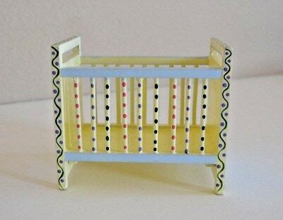 Miniature Dollhouse Wooden Baby Crib, Handpainted Blue and Yellow & Accessories