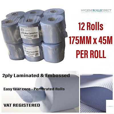 (2 packs)12 rolls ACTIVE Blue Centre feed Rolls Embossed 2ply Wiper Paper Towel