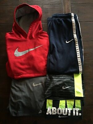Nike lot of 5 Youth Boys Athletic short shirt pants Small GUC