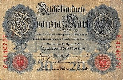 Germany 20 Mark Reichsmark Note, 1908-1914, Circulated