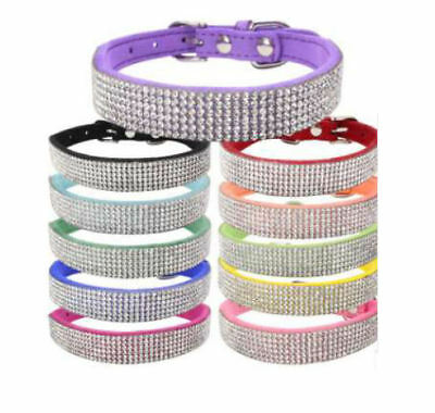 Suede Leather Rhinestone Diamante Dog Collar Soft Bling Cat Puppy Small Pet UK