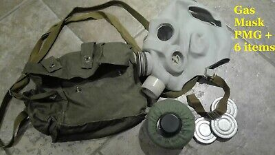 Vintage Soviet Russian USSR Military PMG Gas Mask with original bag SIZE 1,2,3,4