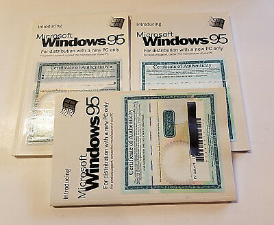 Microsoft Windows 95 Certificate Of Authenticity With Manual Lot 3