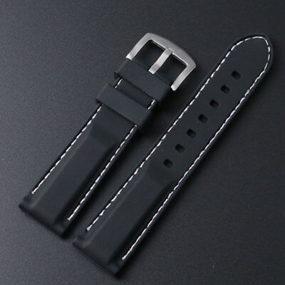18/20/22/24mm Black Silicone Rubber Watch Band Strap with White Line Stitch
