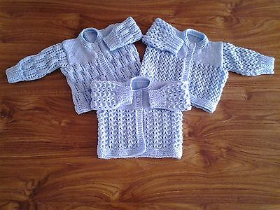 New Hand Knitted Matinee Coats for Newborns (Set of 3 Blue)
