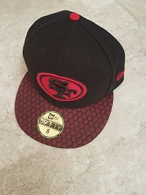 new concept 2cafb 57136 New Era 59Fifty NFL San Francisco SF 49ers On field Black Fitted Hat Cap 7 7