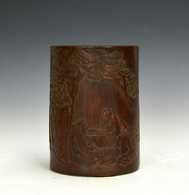 Fine Vintage Chinese Carved Scholar Figures under Pine Tree Bamboo Brush Pot