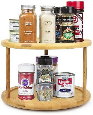 Lazy Susan 2 Tier Bamboo Shelf Turntable Spice Storage Kitchen Organizer  Rack