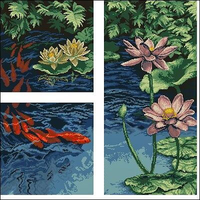 Water Lilies and Goldfish - Cross Stitch Chart - Free Postage