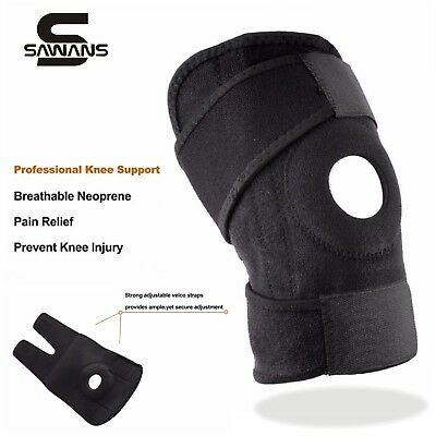 Adjustable Neoprene Gel Open Cap Patella Knee Support Pad Strap Brace Black UK