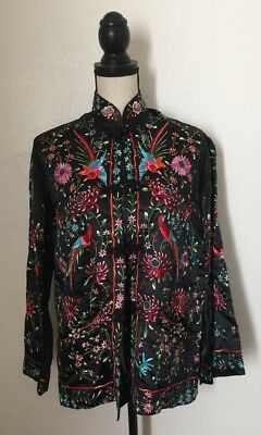 Vintage Plum Blossom Chinese Black Multicolor Birds Hand Embroidered Jacket SZ40