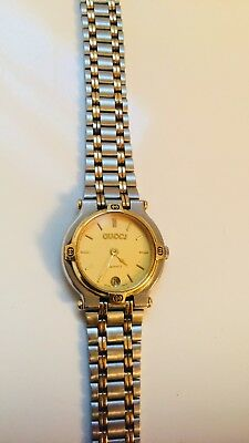 7357a7fb3c5 VINTAGE LADIES GUCCI 9000L Two-tone Gold   Stainless Steel Watch ...