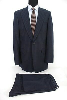 Paul Stuart 2Btn Suit Navy Blue Stripe Wool Center Vent Slim 42XL